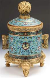 Fine Chinese Gilt Bronze Cloissone Lidded Vessel