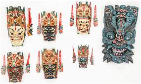 7 Balinese Carved and Painted Wood Masks