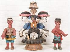 3 West African Polychrome Wood Colonial Carvings