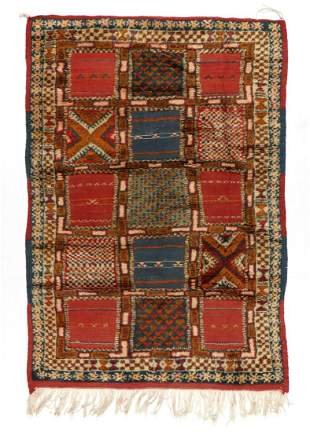 Vintage Moroccan Mixed Weave Rug: 3'8'' x 5'4'' (112 x
