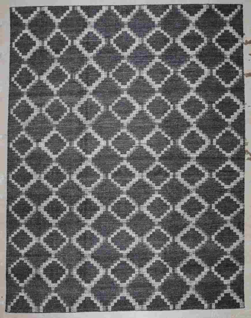 Modern Bamboo Silk/Wool Kilim: 9'2'' x 11'10'' (279 x