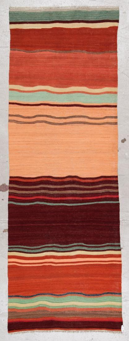 Modern Striped Kilim: 3' x 8'6'' (91 x 259 cm)