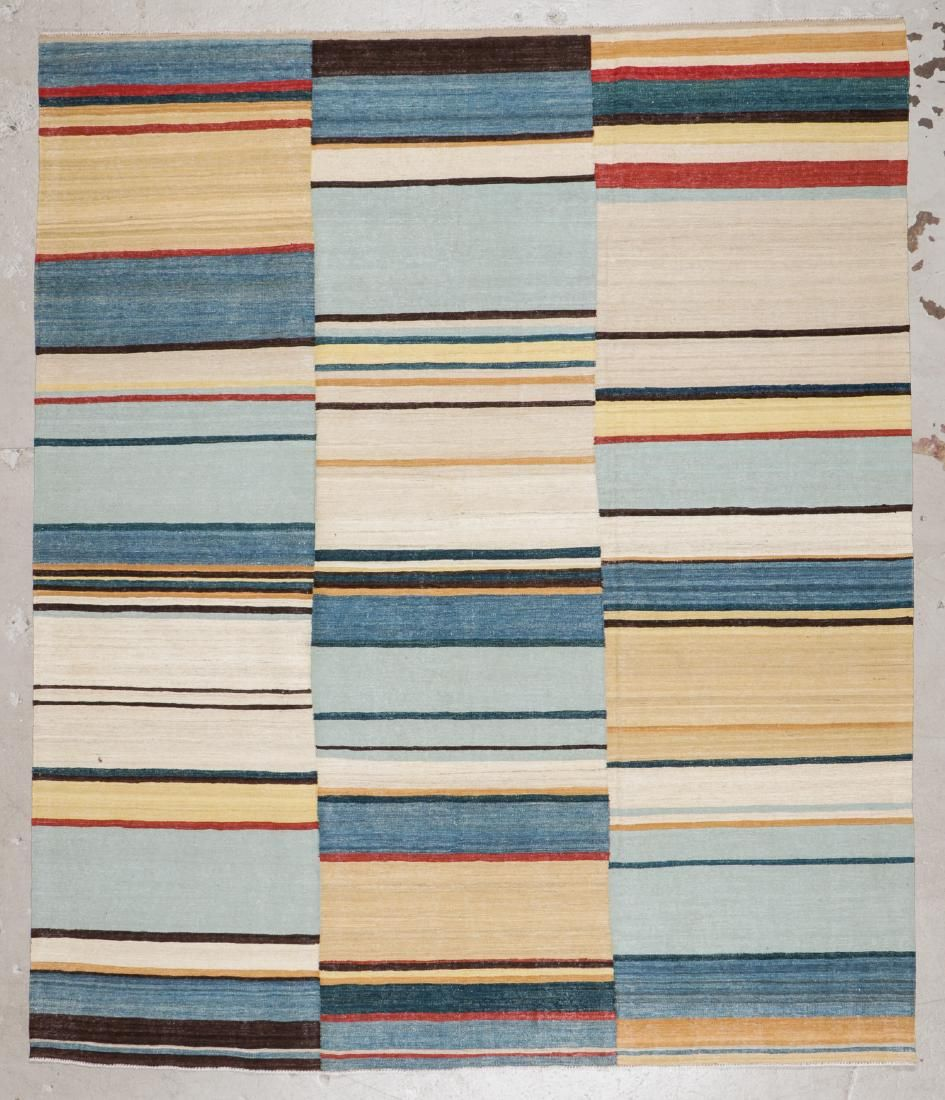 Modern Striped Kilim: 8'4'' x 9'10'' (254 x 300 cm)