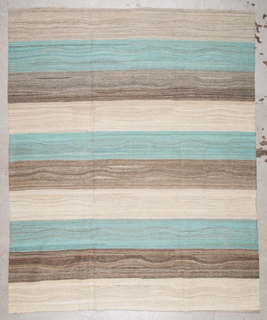 Modern Striped Kilim: 8'1'' x 9'11'' (246 x 302 cm)