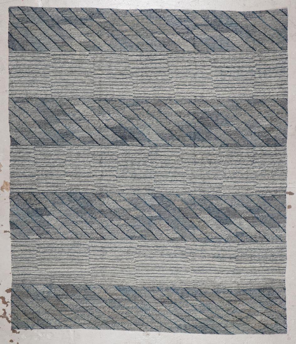 Modern Striped Kilim: 7'8'' x 8'8'' (234 x 264 cm)