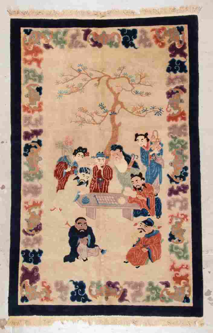 Antique Chinese Pictorial Rug: 5' x 7'11'' (152 x 241