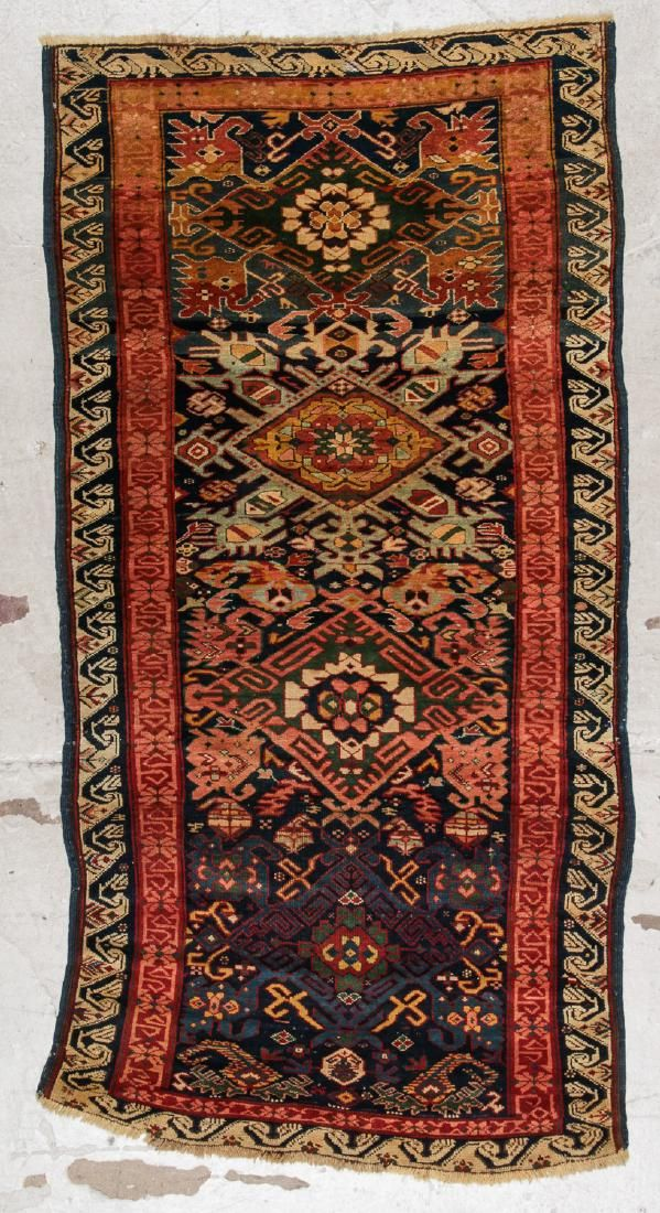 Antique Kuba Rug: 3'3'' x 6'6'' (99 x 198 cm)