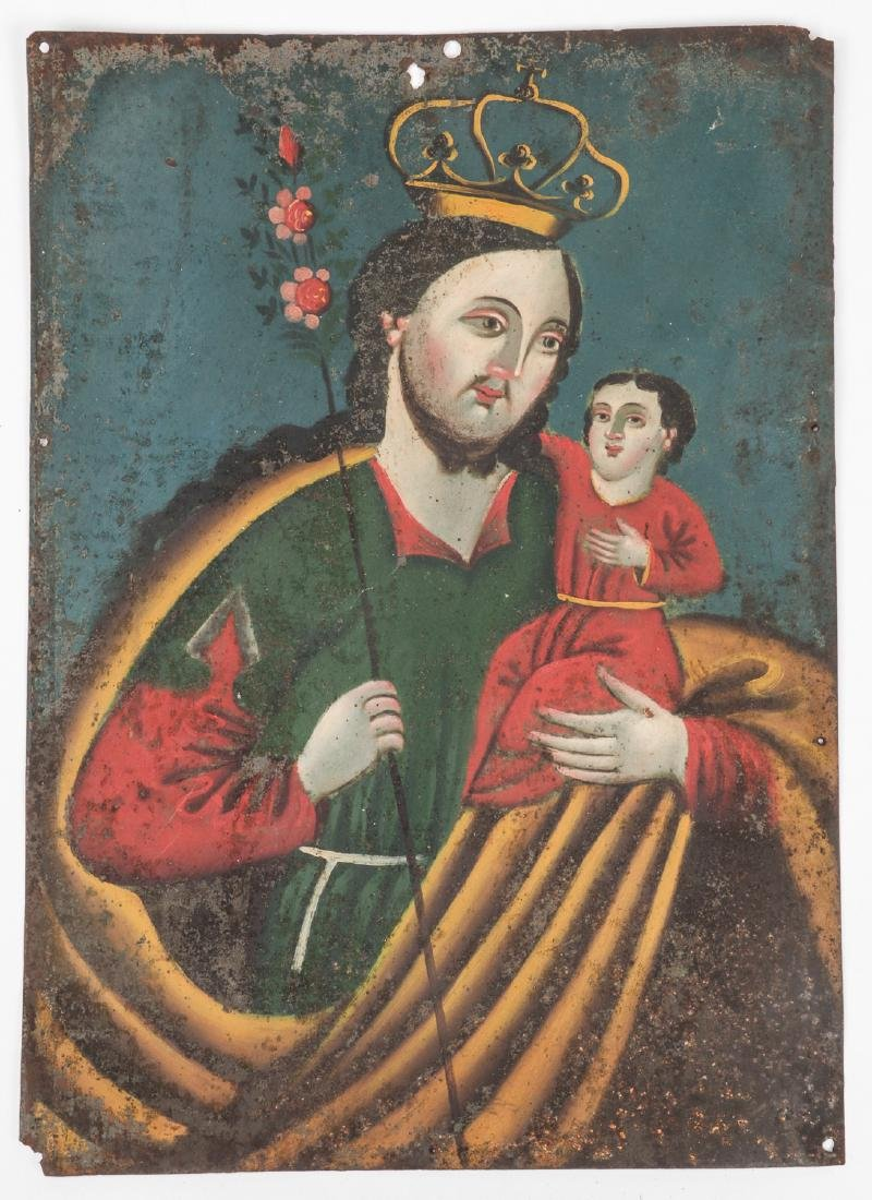 Antique Mexican Retablo of Saint/Child Jesus
