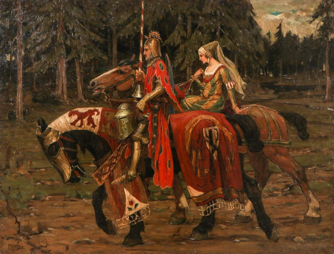 After Alphonse Mucha (1860-1939) Prince and Princess on - 2