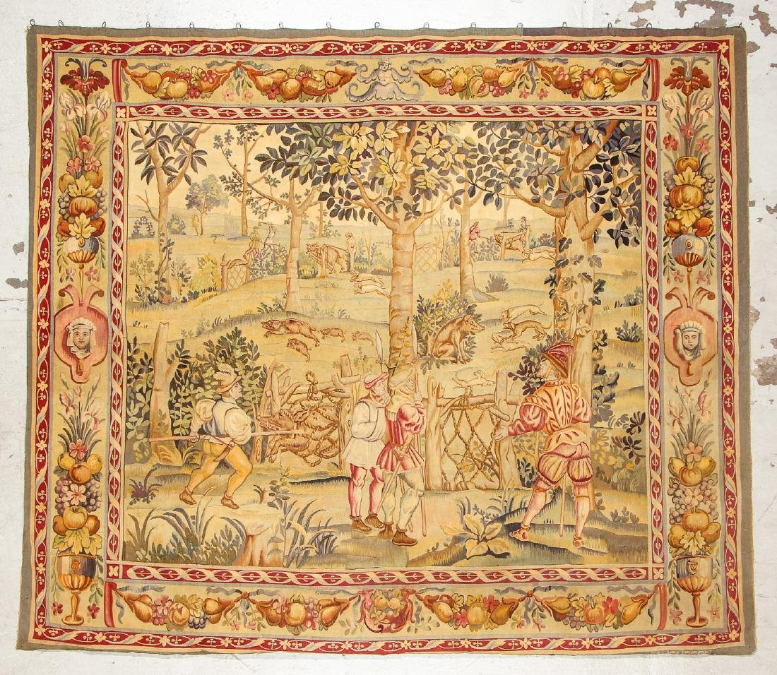 Antique Aubusson Tapestry, France, Signed