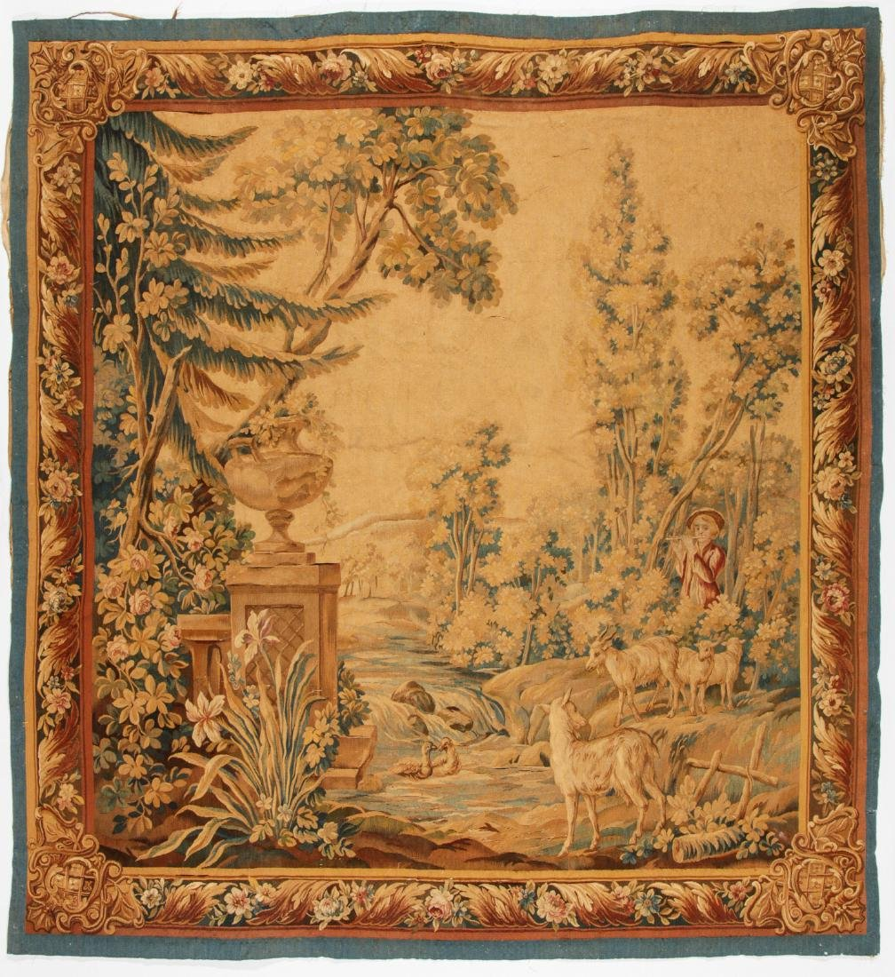 Antique Continental Wool Pictorial Tapestry