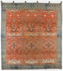 Antique Chinese Silk Dragon Tapestry