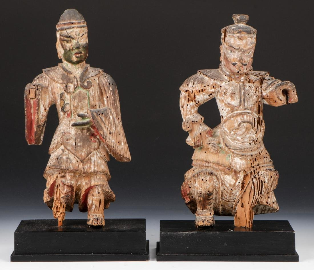 Pair of 16th C. Japanese Warrior Figures