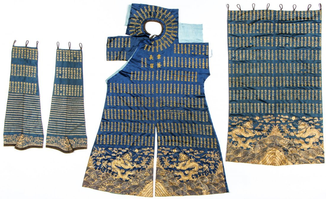 Chinese Silk/Gold Thread Inscribed Dragon Robe, Qing D.