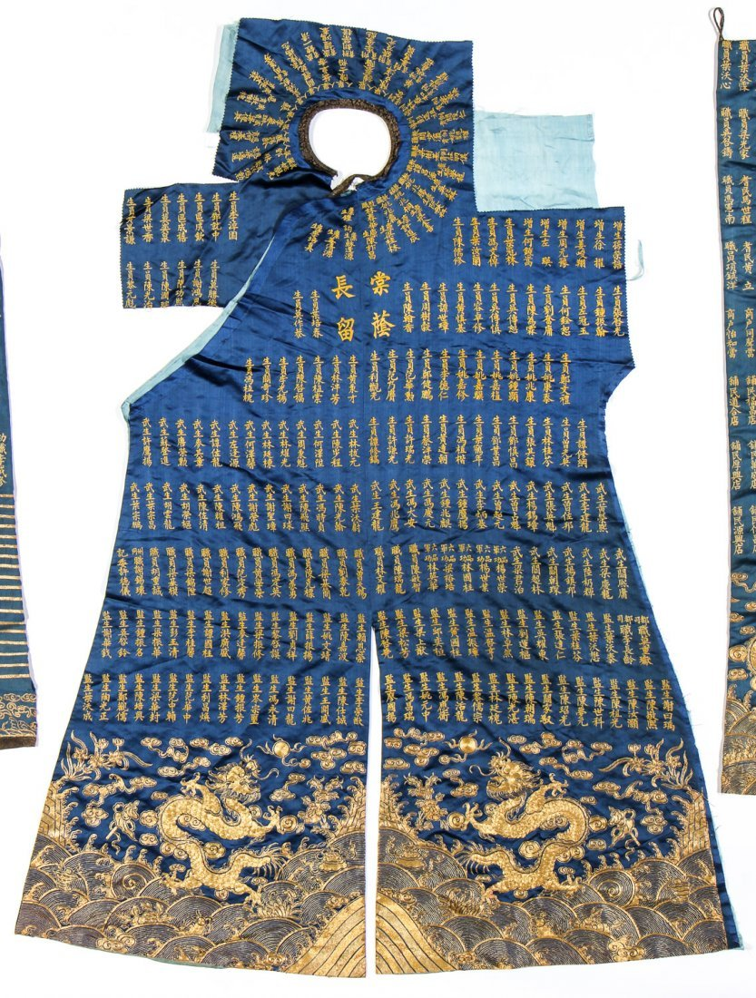 Chinese Silk/Gold Thread Inscribed Dragon Robe, Qing D. - 3
