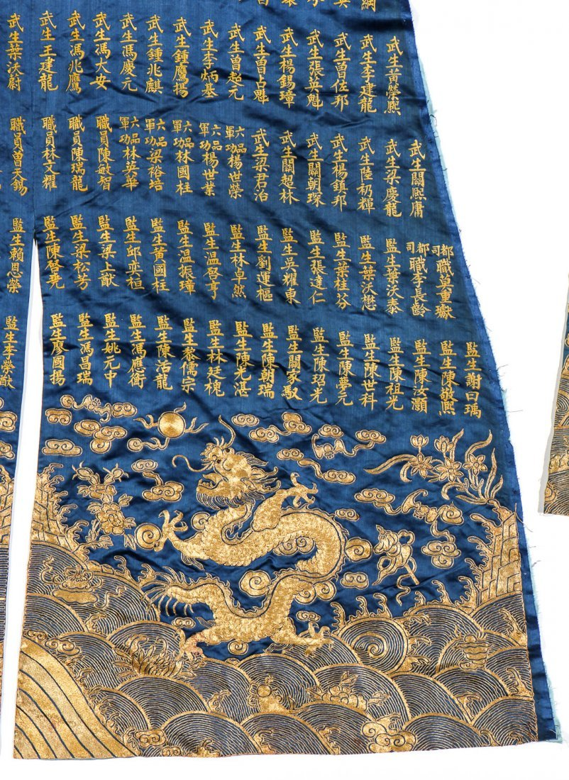Chinese Silk/Gold Thread Inscribed Dragon Robe, Qing D. - 7