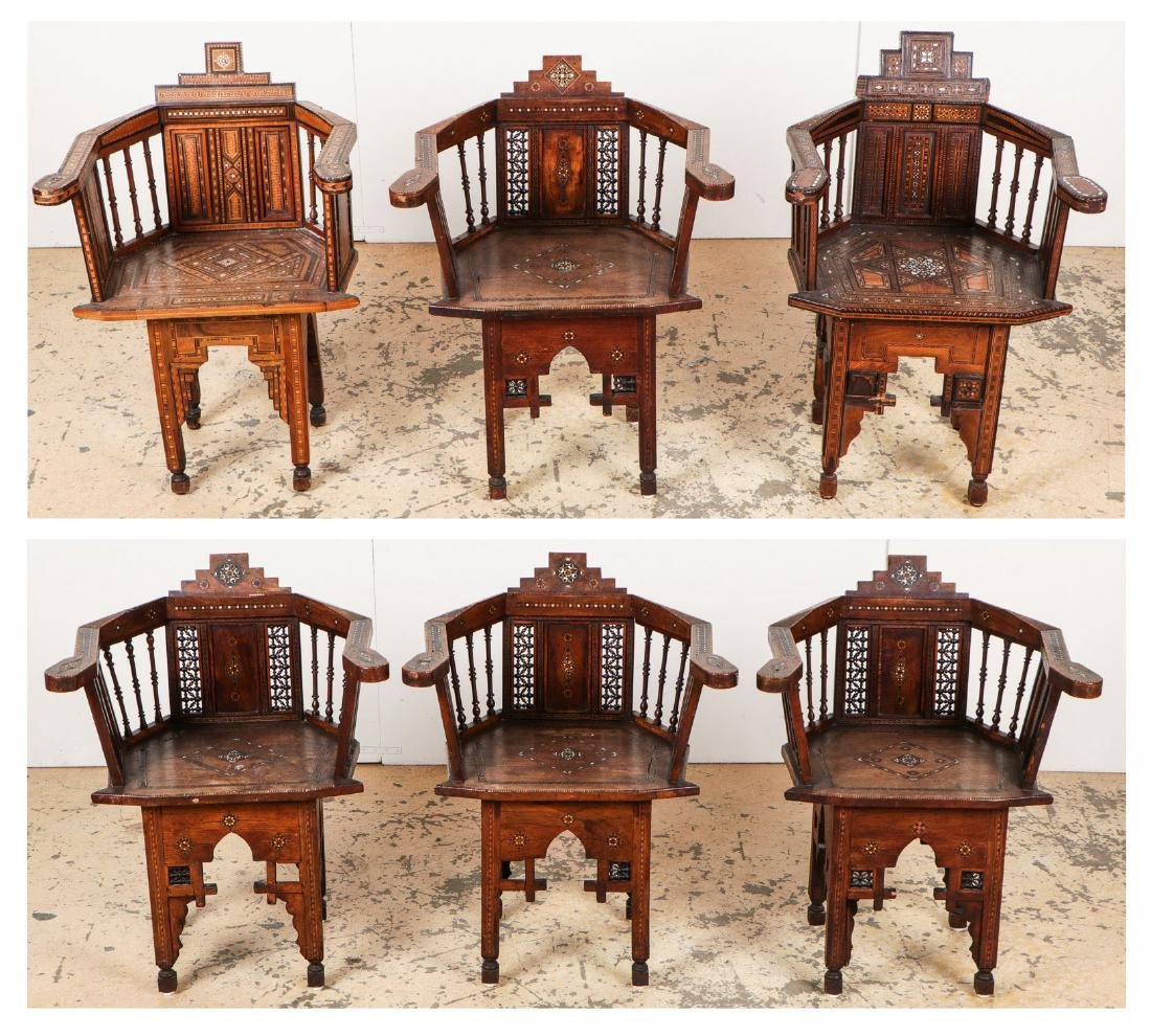 Set of 6 Antique Syrian Walnut and Inlay Chairs