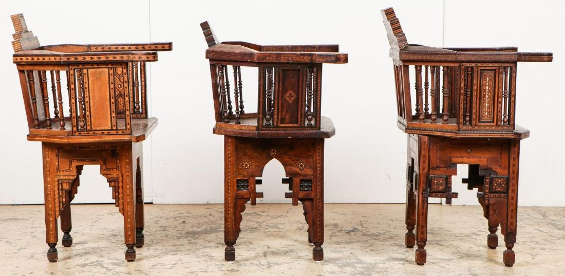 Set of 6 Antique Syrian Walnut and Inlay Chairs - 4