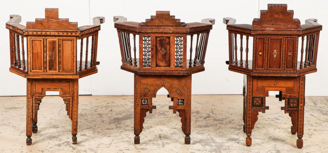 Set of 6 Antique Syrian Walnut and Inlay Chairs - 5