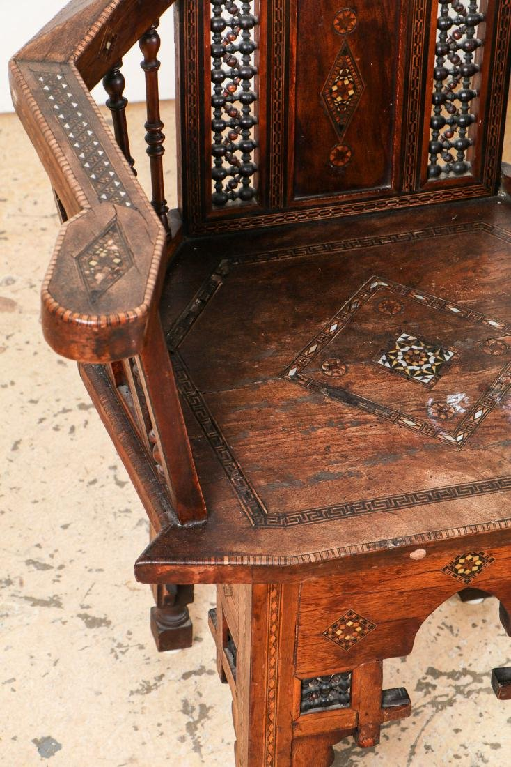 Set of 6 Antique Syrian Walnut and Inlay Chairs - 7