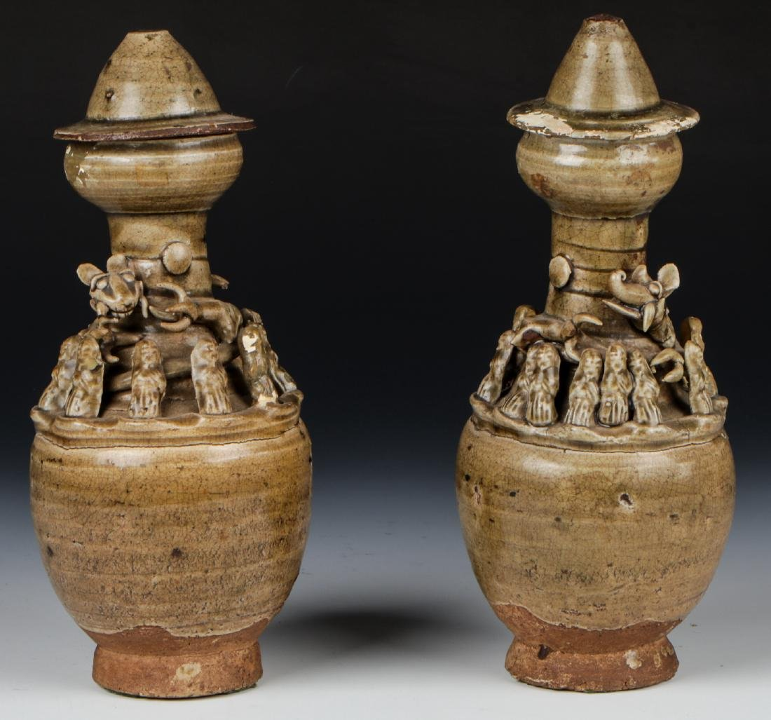 Two Chinese Funerary Urns