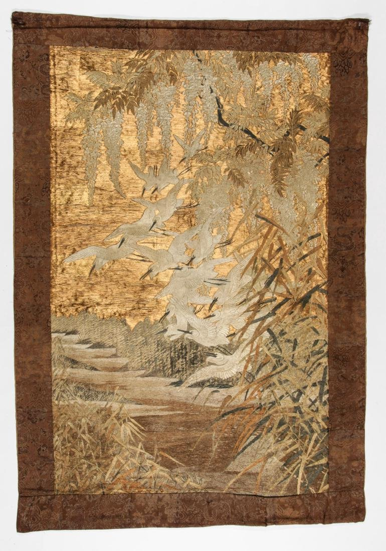 Antique Asian Silk & Metal Thread Embroidery