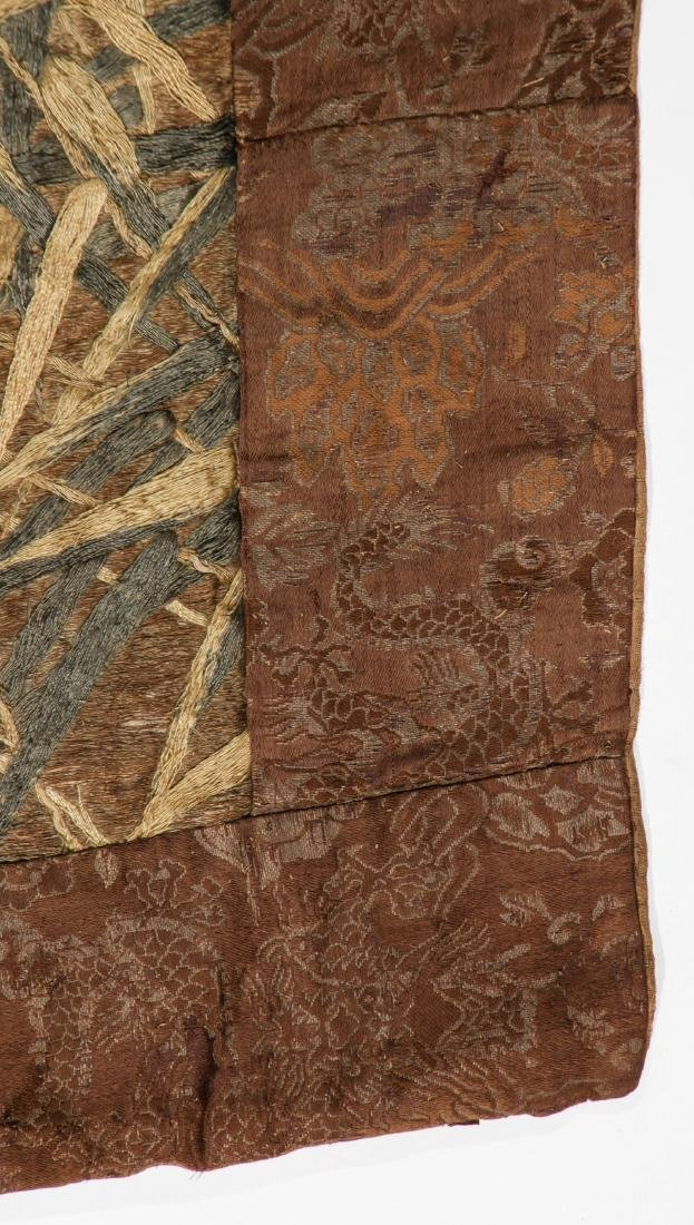 Antique Asian Silk & Metal Thread Embroidery - 2