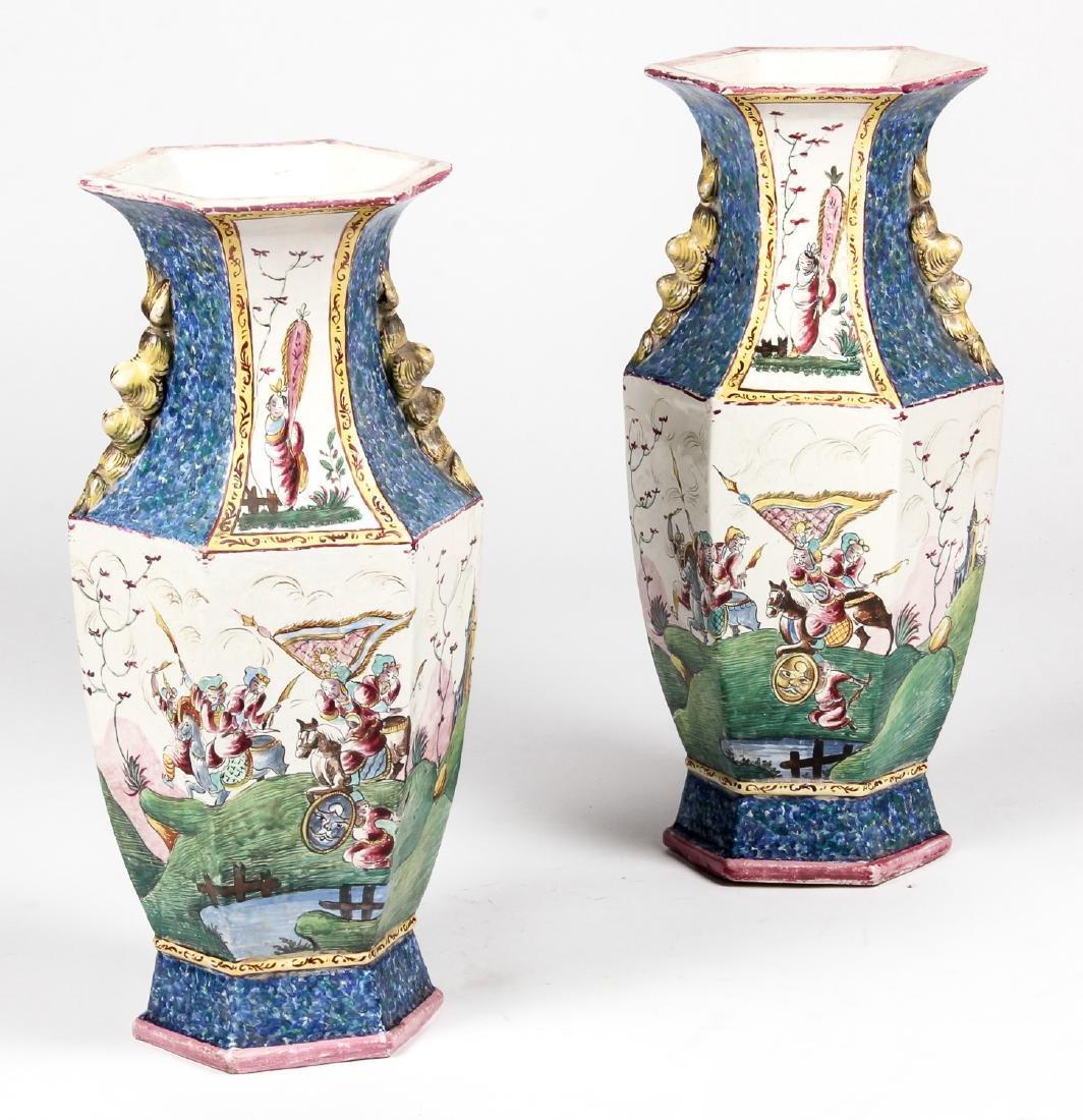 Pair of Vintage Chinese Pictorial Ceramic Vases