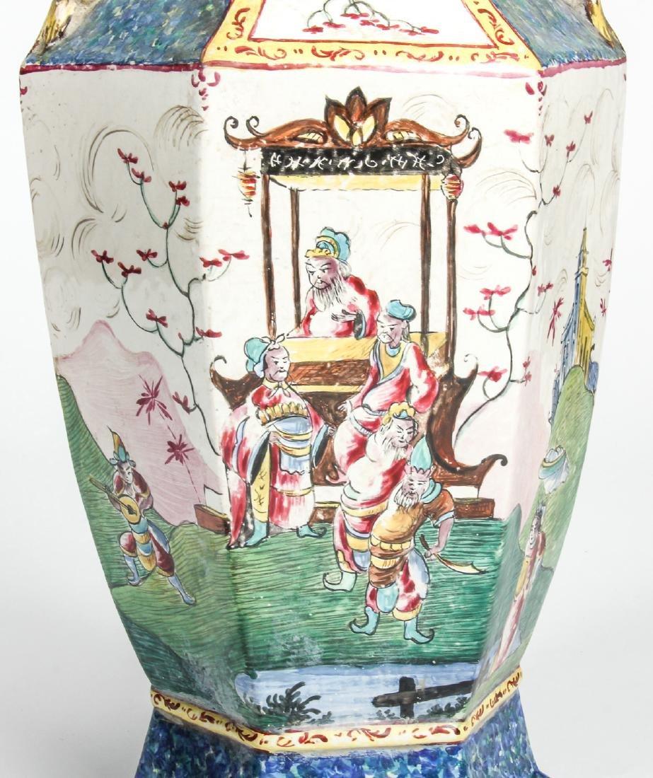 Pair of Vintage Chinese Pictorial Ceramic Vases - 3