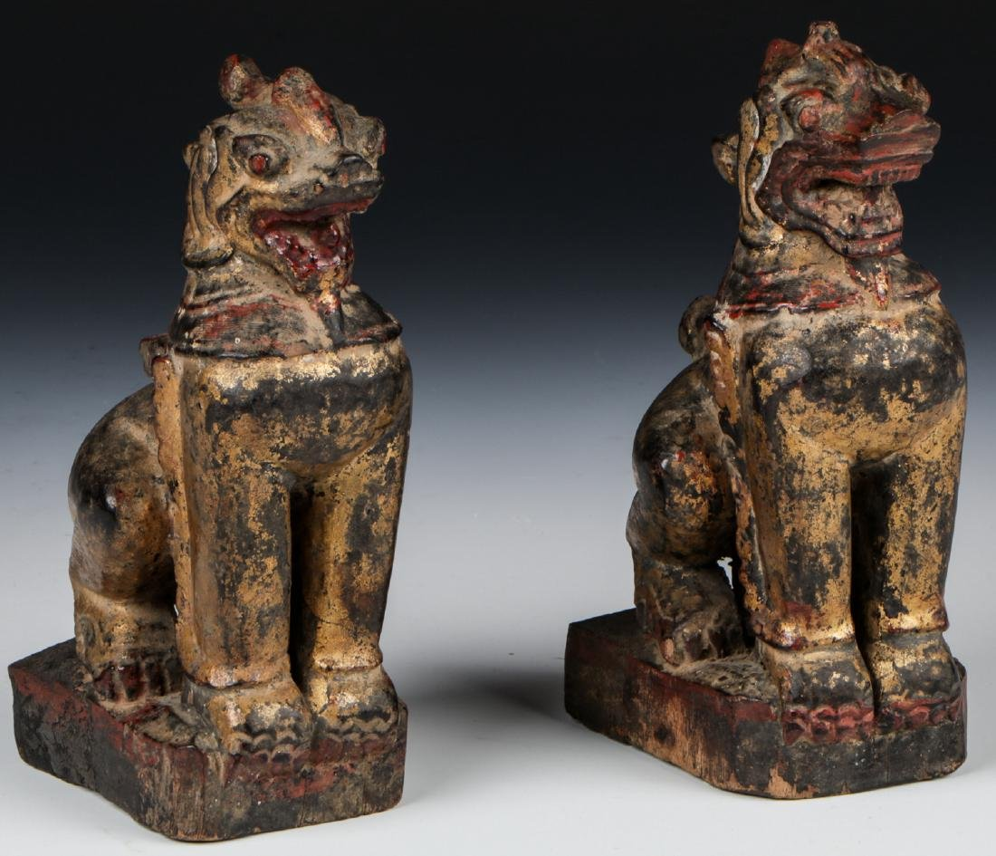 Pair of Antique Burmese Gilt Foo Dogs