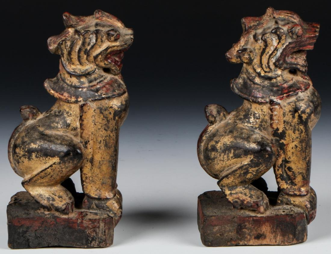 Pair of Antique Burmese Gilt Foo Dogs - 2