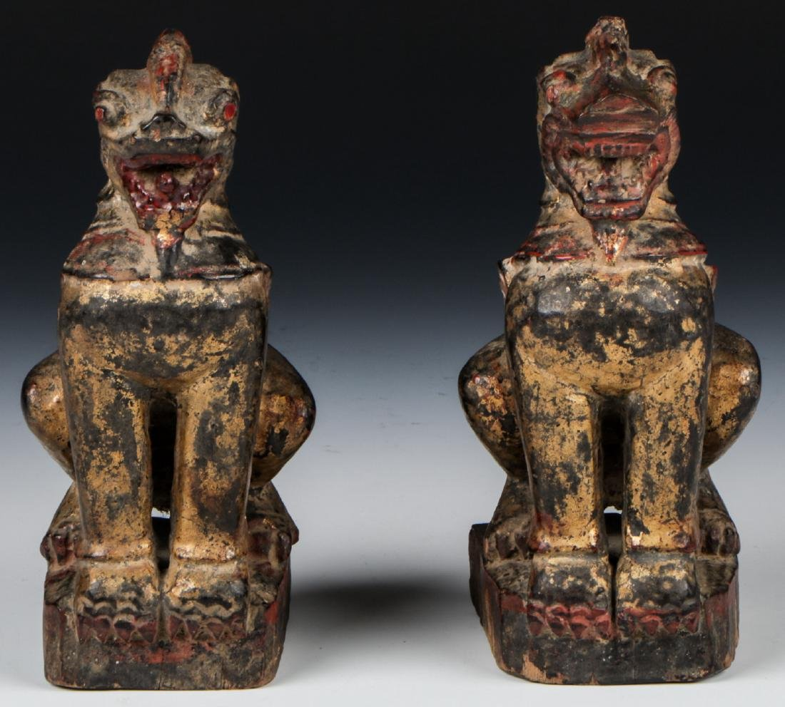 Pair of Antique Burmese Gilt Foo Dogs - 3