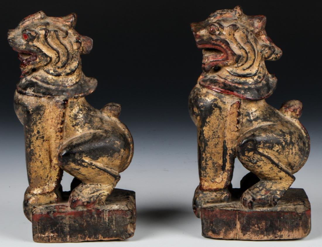 Pair of Antique Burmese Gilt Foo Dogs - 4