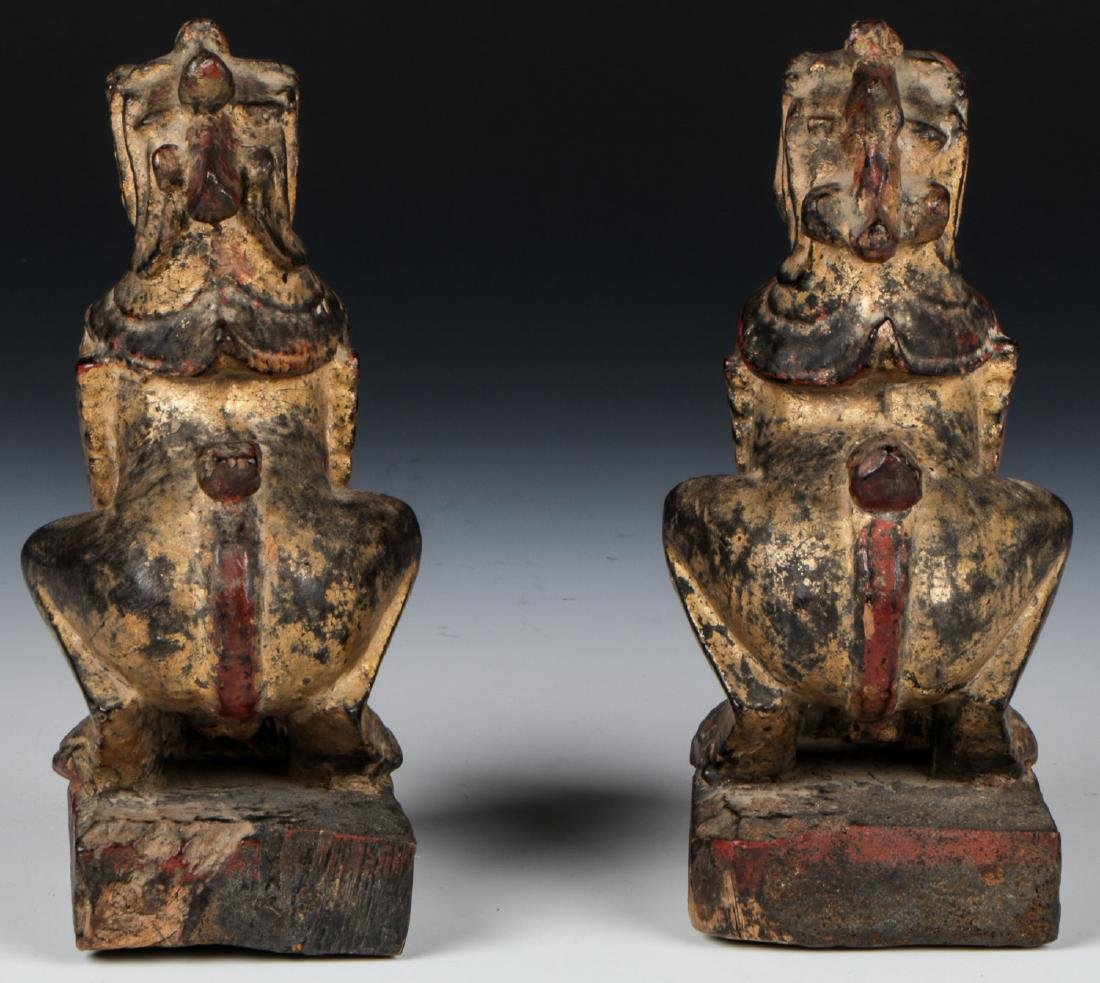 Pair of Antique Burmese Gilt Foo Dogs - 5