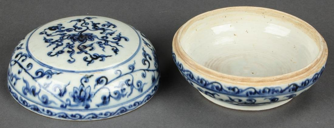 Chinese Blue and White Porcelain Covered Box - 2