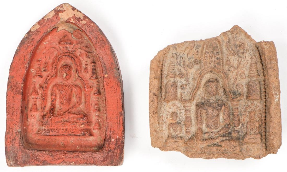 2 Old Burmese (Bagan) Votive Ceramic Plaques