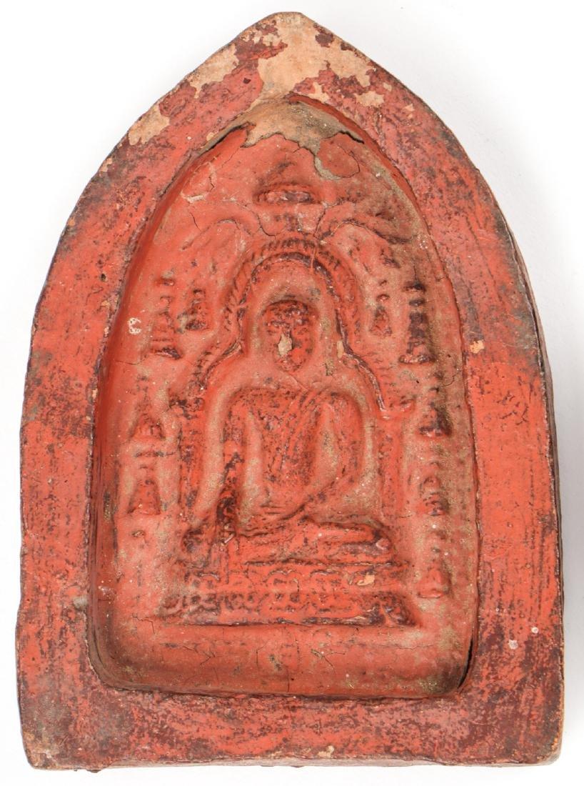 2 Old Burmese (Bagan) Votive Ceramic Plaques - 2