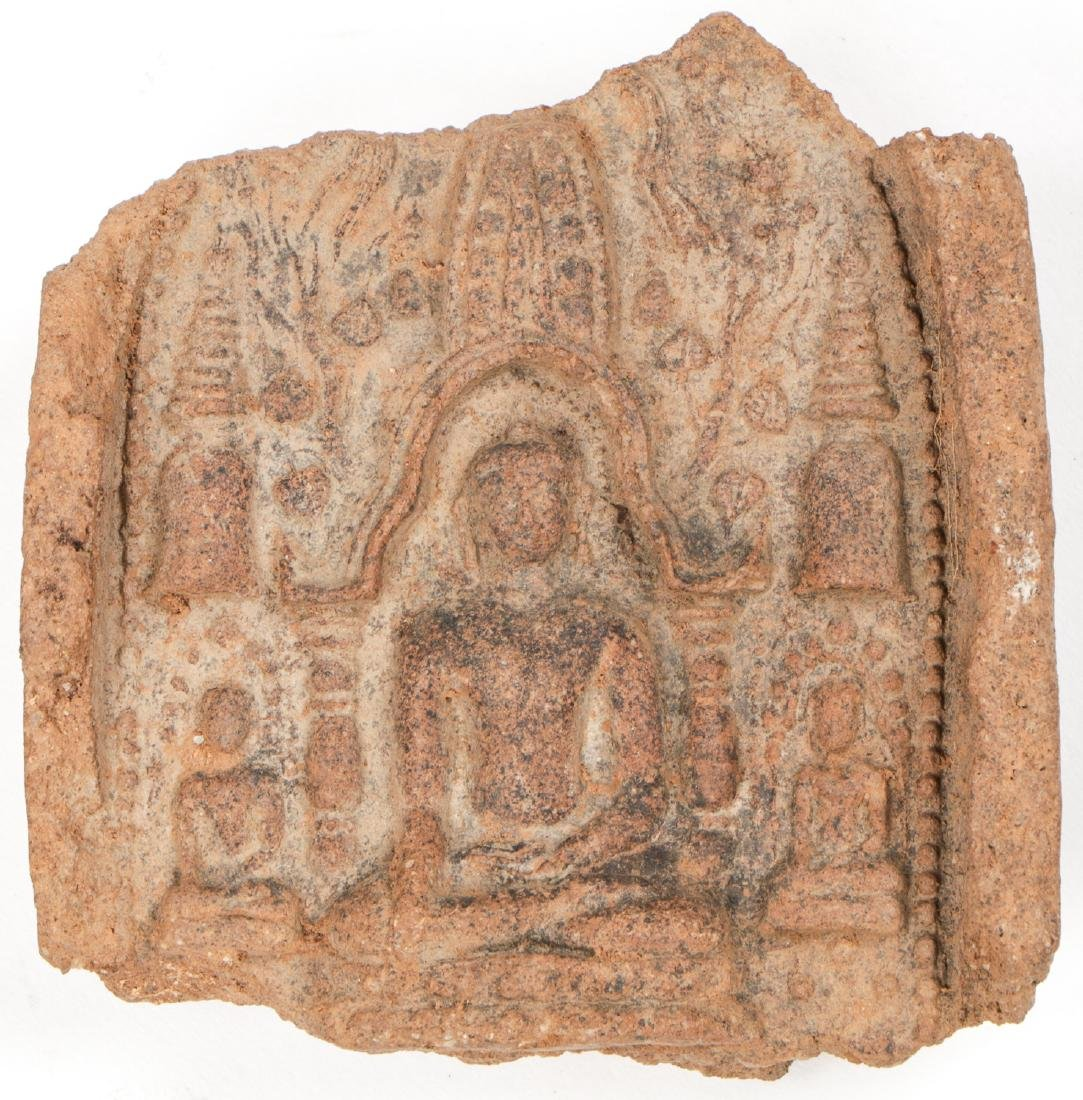 2 Old Burmese (Bagan) Votive Ceramic Plaques - 3