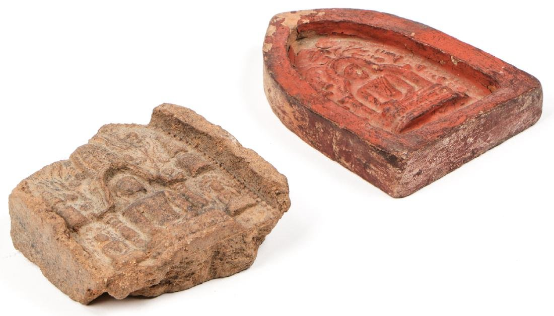 2 Old Burmese (Bagan) Votive Ceramic Plaques - 5