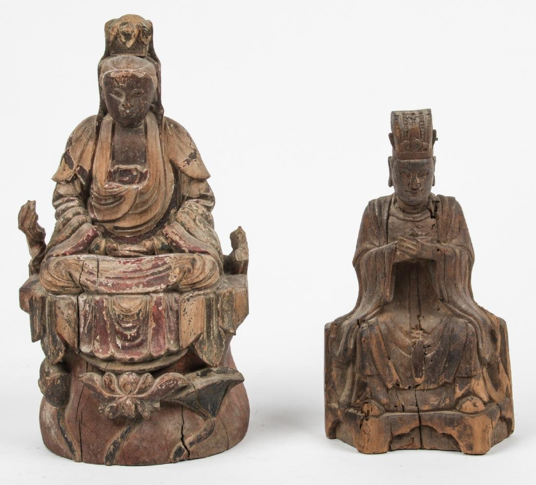 2 Antique Chinese Carved Wood Figures