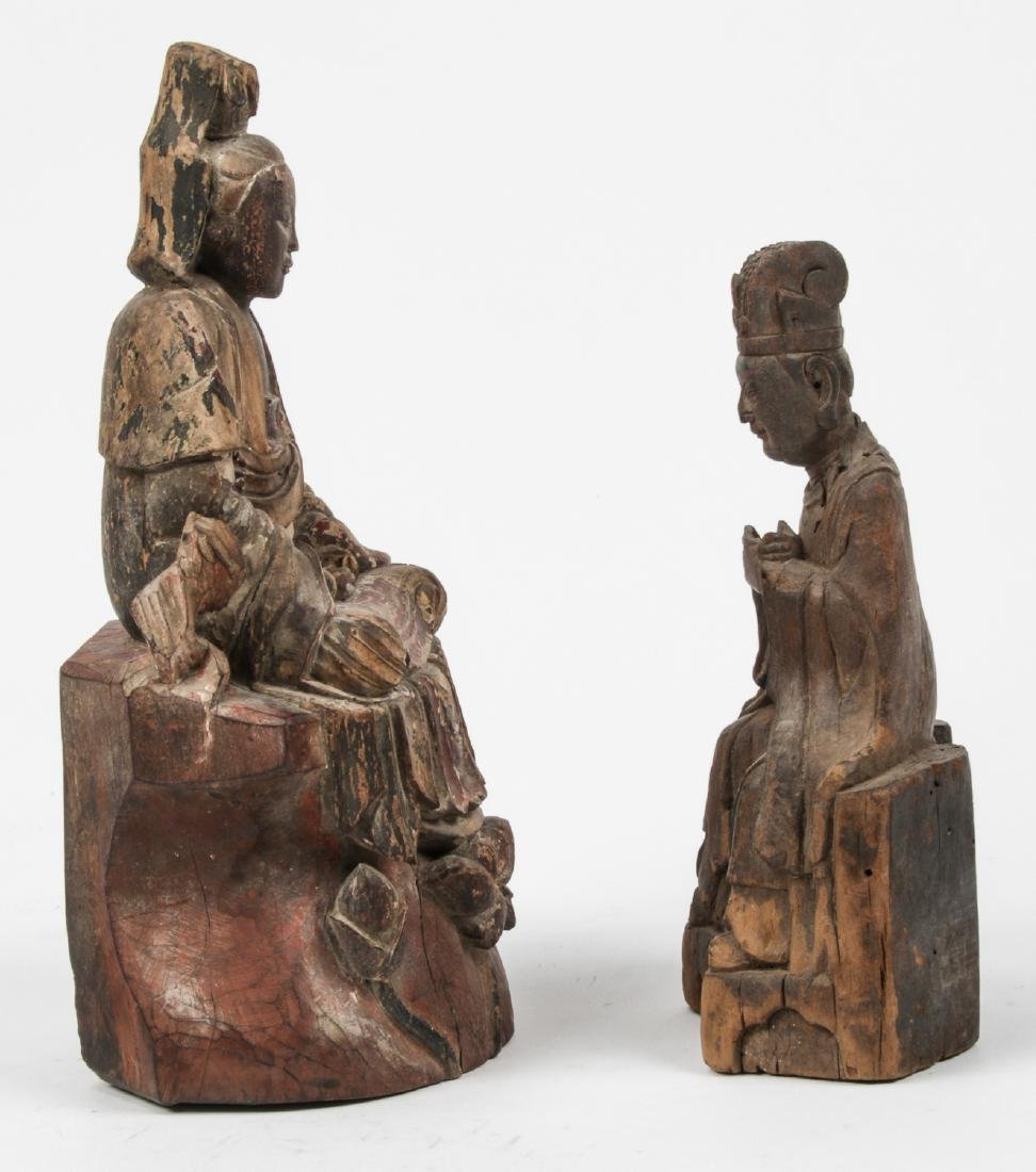 2 Antique Chinese Carved Wood Figures - 2