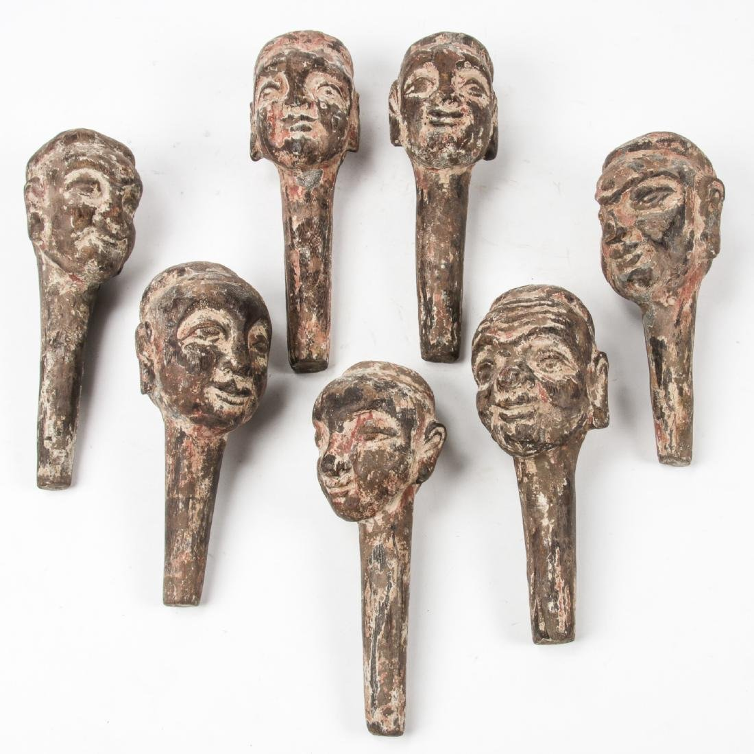 7 Antique Chinese Carved Wood Puppet Heads