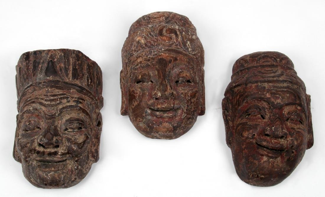 3 Antique Chinese Carved Wood Masks