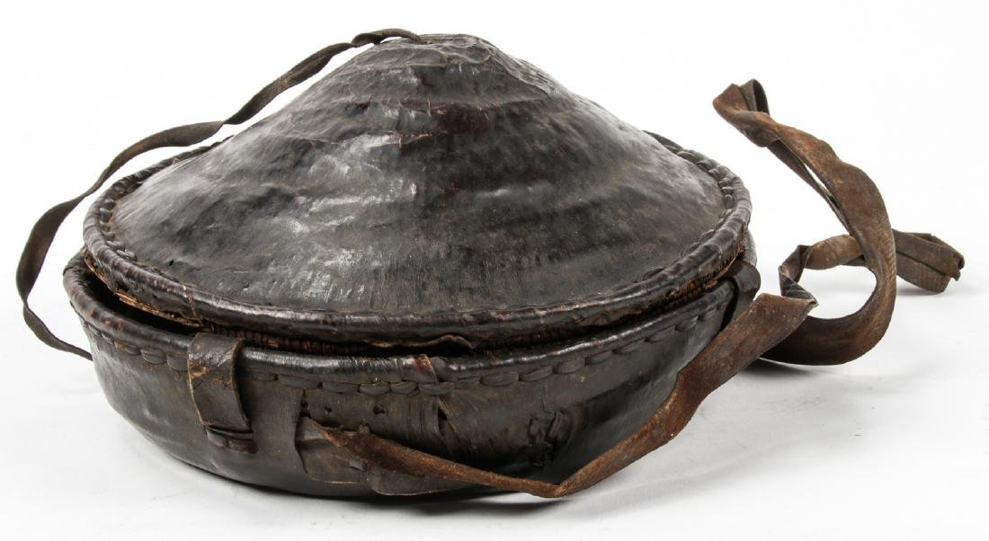 Old Ethiopian Leather Basket