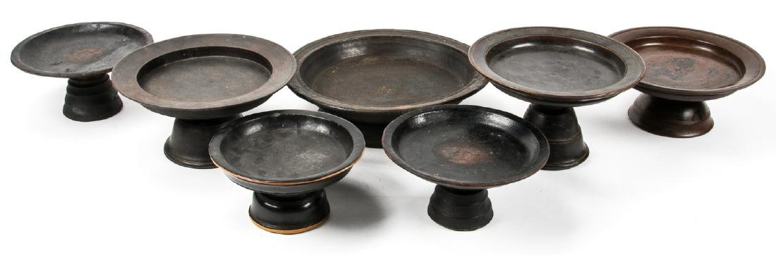 7 Old Thai/Burmese Lacquer Offering Trays