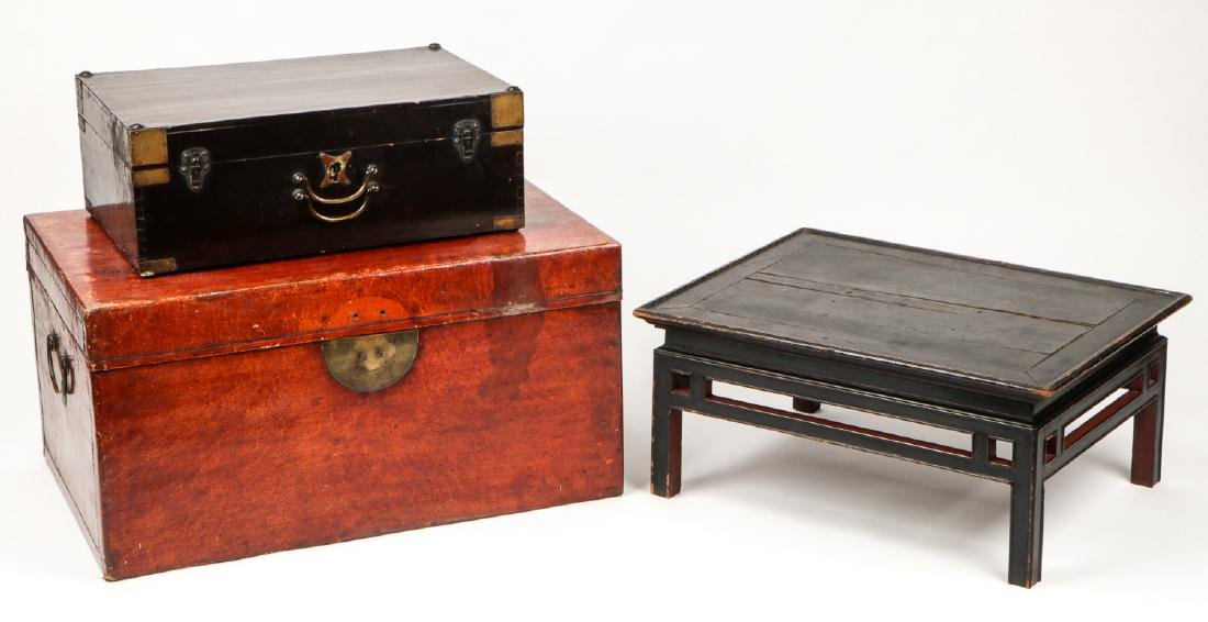 Pair of Chinese Wood Chests and Low Table