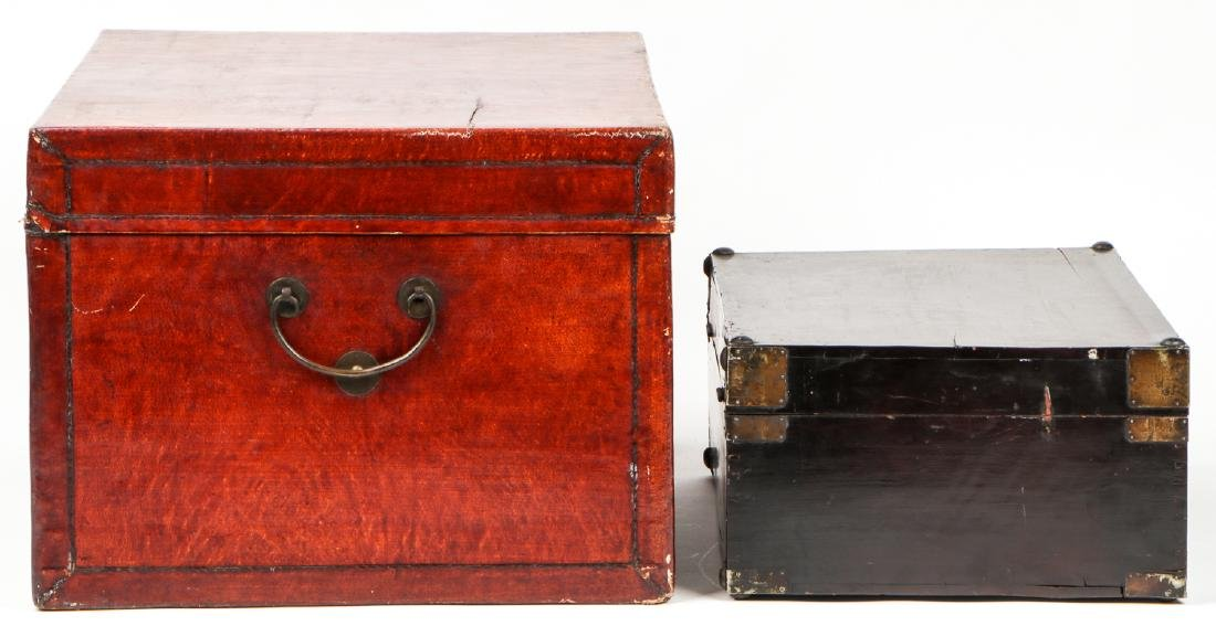 Pair of Chinese Wood Chests and Low Table - 3