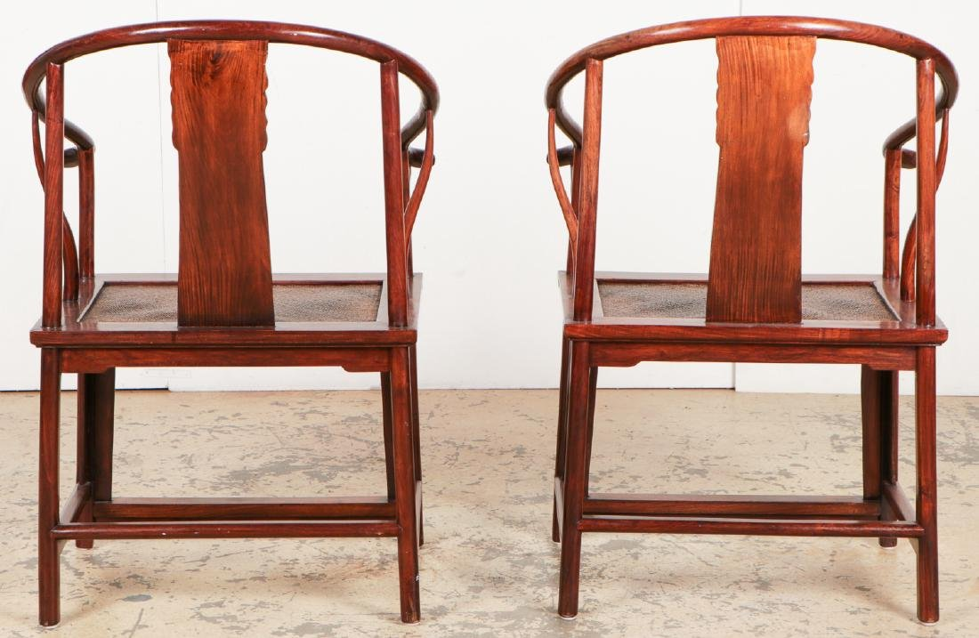 Pair of Chinese Ming Style Horseshoe Chairs - 7