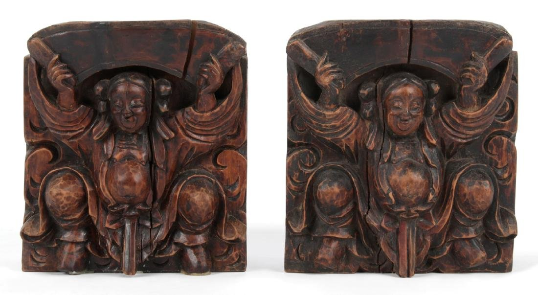 Pair of Antique Chinese Carved Wood Column Tops