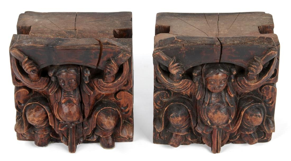 Pair of Antique Chinese Carved Wood Column Tops - 2